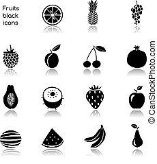 fruits, noir, icônes