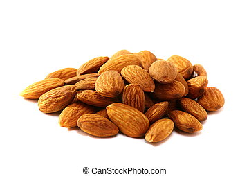 Fruits of almonds on white background.