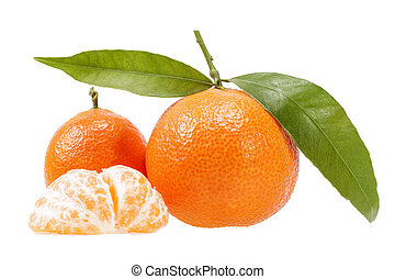 Fruits of clementine isolated on white background