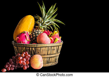 fruits on a black background.