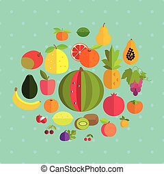 Fruits on a blue background with polka dots.