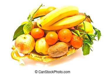 fruits on a platter close-up on white