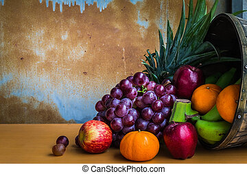 fruits on a wooden floor.