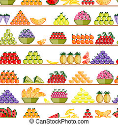 Fruits on shelves, seamless pattern for your design
