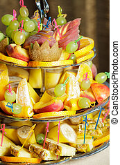 Fruits on silver stand