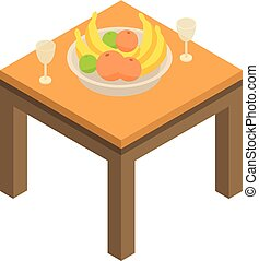 Fruits on table icon, isometric style - Fruits on table...