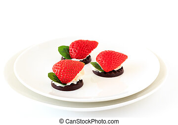 fruits on the chocolate with whipped cream