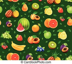 Fruits on Vector Seamless Background - Design element for cover of journal or signboard