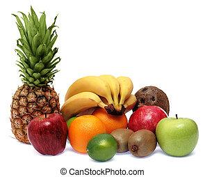 Fruits on white background