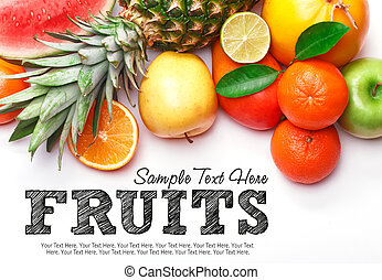 Fruits on white background with space for text. Organic food.