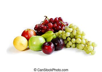 Fruits on white - Assorted fruits on white background