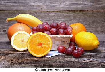 Fruits On Wooden Table