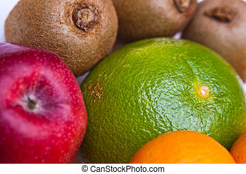 fruits orange apple kiwi kaki pear grapefruit
