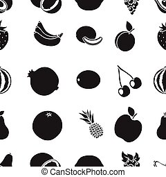 Fruits pattern icons in black style. Big collection of fruits vector symbol stock illustration