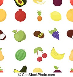 Fruits pattern icons in cartoon style. Big collection fruits vector symbol stock illustration