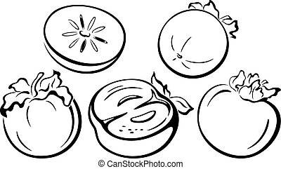 Fruits, Persimmon Black Pictograms