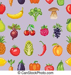Fruits pixel vegetables vector healthy nutrition of fruity apple banana and vegetably carrot for vegetarians eating organic food illustration vegetated set diet background pattern
