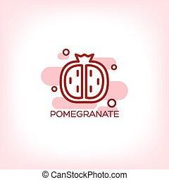 fruits pomegranate vector flat icon
