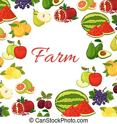 Fruits poster. Fresh farm fruit icons in round frame