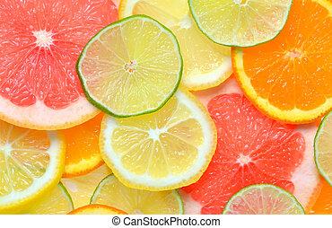 fruits, rebanadas, fruta cítrica