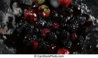 fruits revolve and sprinkled with powdered sugar