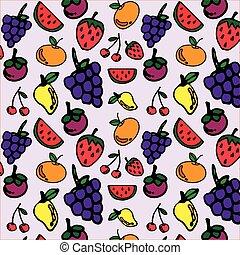 fruits, seamless, patrón, para, su, diseño