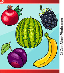 fruits set cartoon illustration