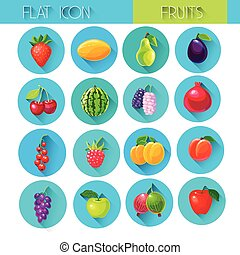 Fruits Set Colorful Icon Collection