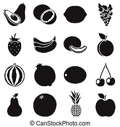 Fruits set icons in black style. Big collection fruits vector symbol stock illustration