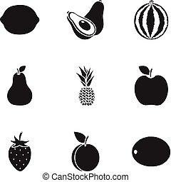 Fruits set icons in black style. Big collection of fruits vector symbol stock illustration