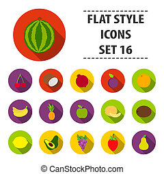 Fruits set icons in flat style. Big collection fruits bitmap,raster symbol stock illustration