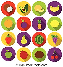 Fruits set icons in flat style. Big collection fruits vector symbol stock illustration