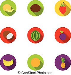 Fruits set icons in flat style. Big collection of fruits vector symbol stock illustration