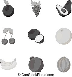 Fruits set icons in monochrome style. Big collection of fruits vector symbol stock illustration