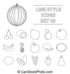 Fruits set icons in outline style. Big collection of fruits vector symbol stock illustration