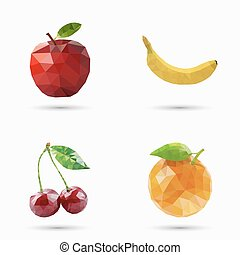 Fruits set in polygonal style. Vector illustration