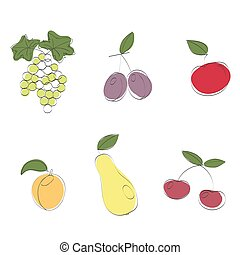 Fruits set. Isolated image of abstract fruit on a white background.