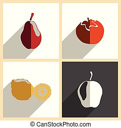 Fruits set of flat icons with shadow. Vector illustration