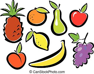 fruits set vector illustration