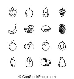 Fruits simple outline icon set. Vector illustration