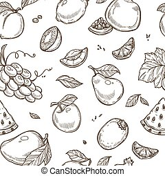Fruits sketch pattern background. Vector seamless design