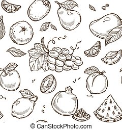 Fruits sketch vector seamless pattern background