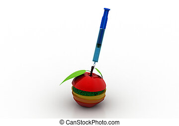 Fruits sliced with syringe, healthy diet concept