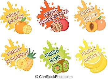 Fruits splash set of labels. Fruit splashes, drops emblem and blot collection. Vector illustration