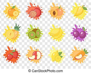 Fruits splash set of labels. Fruit splashes, drops emblem.Isolated on a transparent background. Splash and blot kit. Vector illustration.