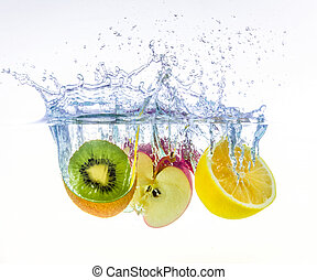fruits splashing in water