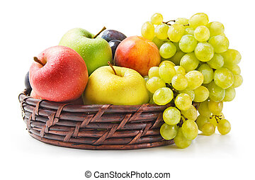Fruits - Various fresh ripe fruits arranged in a wicker...