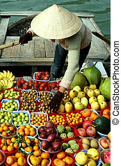 fruits - some fruits on boat - vietnam