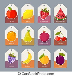 fruits tags. fresh healthy food apples oranges