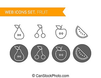 Fruits thin line icons vector set